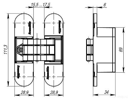 Петля скрытой установки с 3D-регулировкой Armadillo UNIVERSAL 3D-ACH 60 AB Бронза