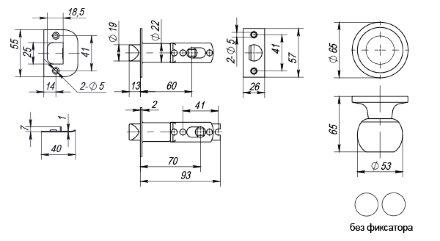 Ручка защелка Fuaro (Фуаро) 672/BL CP-P (хром) без фик.