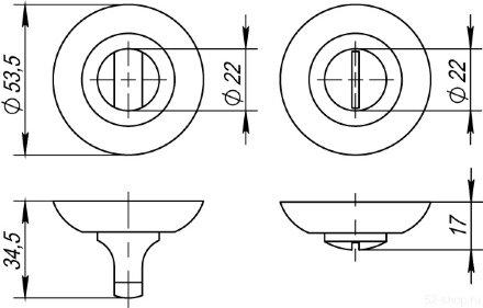 Ручка поворотная BK6 TL SN/CP-3 матовый никель/хром