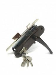 Замок врезной цилиндровый с защёлкой в комплекте с ручкой ЗВ7-70.4 (медь), 5 кл.