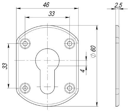 Декоративная накладка ESC031-CP-8 (ХРОМ) на цилиндр (2 шт)