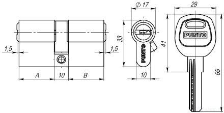 Цилиндровый механизм A200/90 mm (30+10+50) SN мат. никель 5 кл. PUNTO