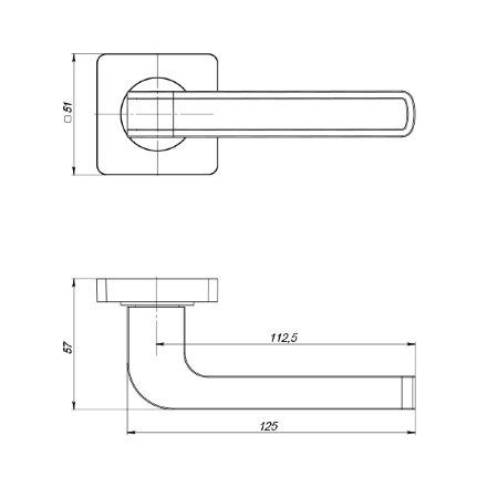 Ручка раздельная PUNTO FUTURA ZQ SN/WH-19 матовый никель/белый