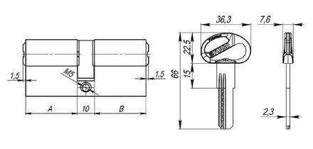Цилиндровый механизм Fuaro (Фуаро) D-PRO500/70 mm (30+10+30) CP хром 5 кл.