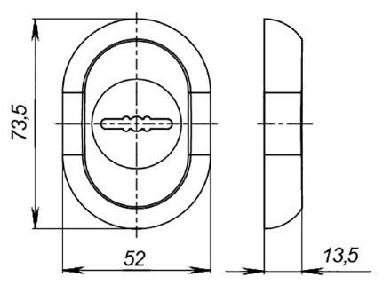 Накладка под Fuaro (Фуаро) сувальдный ключ ESC-10S с автоматическими шторками CP-8 хром (утопленная)