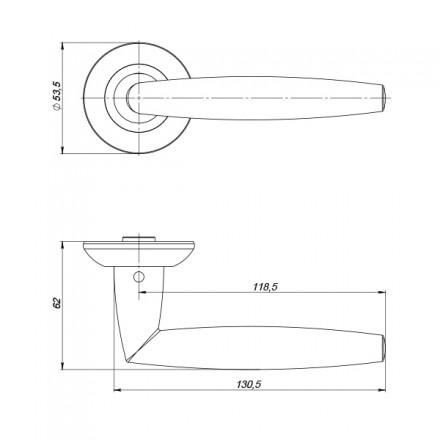 Ручка раздельная PUNTO SUPREME ZR SN/CP-3 матовый никель/хром