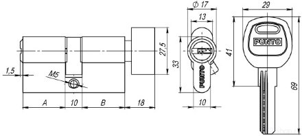 Цилиндровый механизм с вертушкой A202/120 mm (55+10+55) SN мат. никель 5 кл. PUNTO