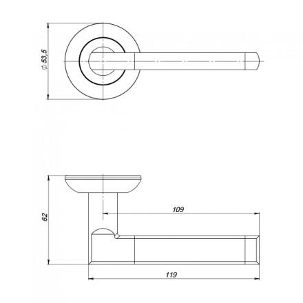 Ручка раздельная PUNTO AXIS ZR SN/CP-3 матовый никель/хром