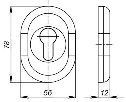Накладка под цилиндр  ESC-12C AB-7 зеленая бронза (2шт. в уп.,отгр. по 1 шт)