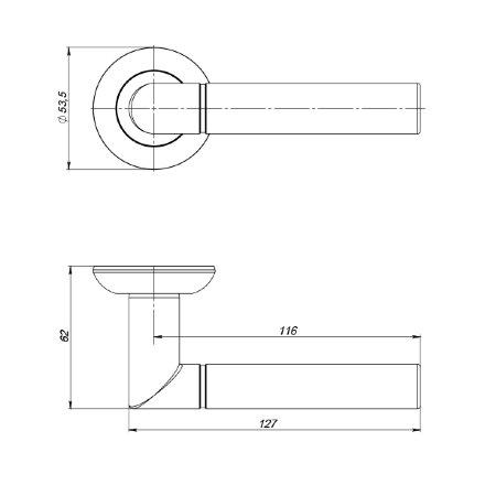 Ручка раздельная PUNTO UNI ZR SN/CP-3 матовый никель/хром