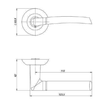 Ручка раздельная PUNTO COMETA ZR SN/CP-3 матовый никель/хром
